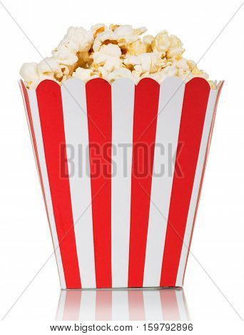 Red and white striped square box of popcorn isolated on a white background