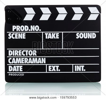 Black with white lettering clapper board isolated on white
