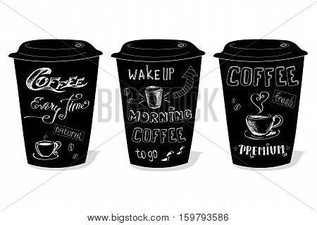 Black coffee cup covered with hand-drawings on the theme of coffee, vector illustration on a white background