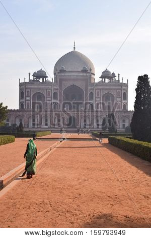 NEW DELHI, INDIA - FEBRUARY 02, 2016 - Unidentified indian woman inside Humayun Tomb heritage site