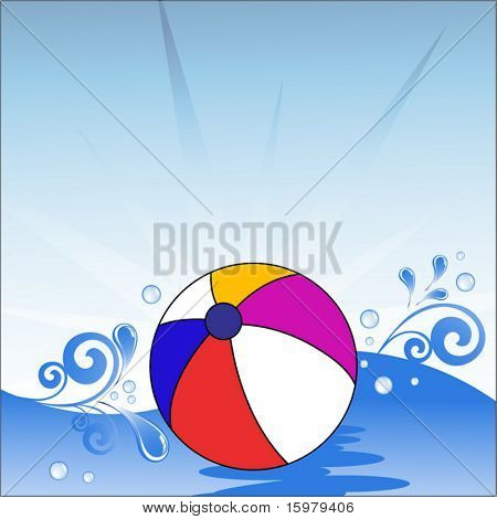 beach ball floating on water with waves