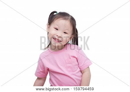 Little asian girl smiling over white background