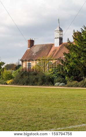 Oxford University Parks Oxford United Kingdom October 23 2016: The cricket pavilion in the University Parks in Oxford.