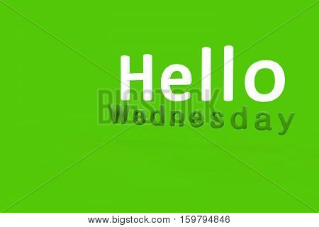Hello Wednesday 3d text rendering with green background.