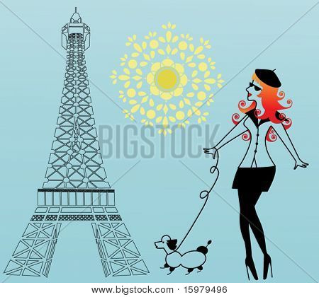 Parisian woman walking the dog