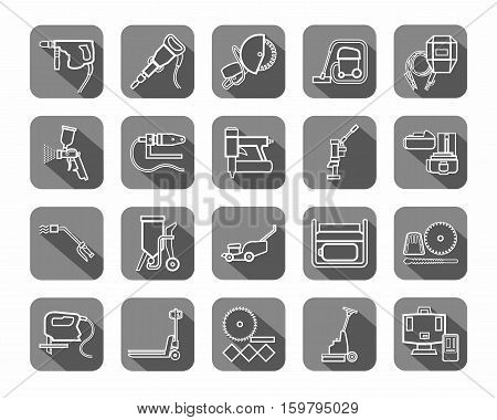 Construction tools, consumables, icons, contour, gray. Vector, white contour drawings of equipment for construction and renovation on a gray background with shadow.