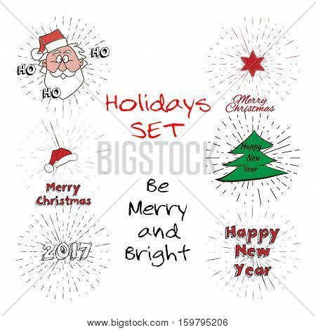 Holidays Set of free typography lettering, Santa Claus Head, Christmas Tree, 2017 sign, Star, Happy New Year text, Santa Hat with vintage sun burst frame. Holiday concept vector background, holiday wish and vintage label. Seasonal text design.