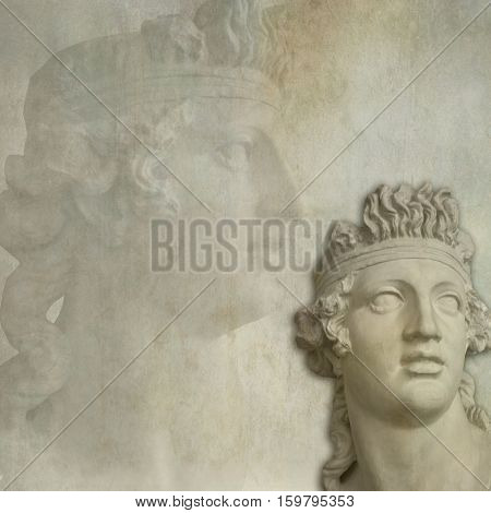 Old age background with a classical sculpture on grunge texture