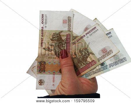 girl holding in hand cash paper money