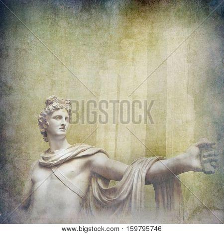 Antique hellenistic sculpture on architectural grunge background
