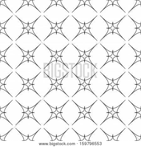 Star geometric seamless pattern. Fashion graphic background design. Modern stylish abstract texture. Monochrome template for prints textiles wrapping wallpaper website. Stock VECTOR illustration