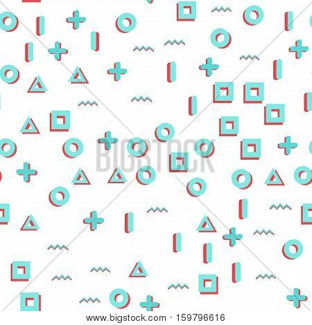 Geometric Vector pattern with blue and red with triangle, line, circle, plus. Hipster fashion Memphis style. Glitch effect.