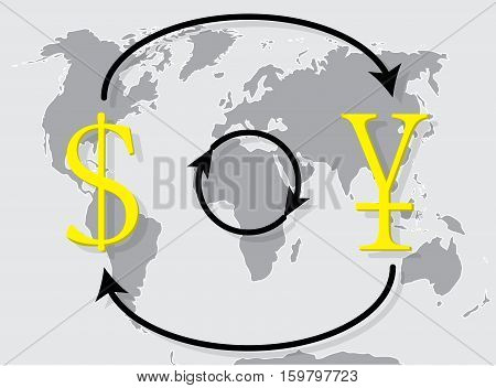 Currency exchange japanese yen dollar on world map background. Money exchange and foreign exchange vector illustration