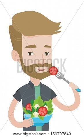 Hipster man eating healthy vegetable salad. Caucasian man enjoying fresh vegetable salad. Man holding fork and bowl with vegetable salad. Vector flat design illustration isolated on white background.