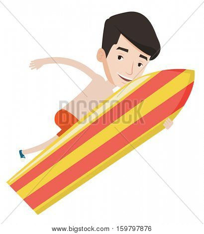 Young happy caucasian surfer having fun during execution of a move. Smiling surfer in action on a surf board. Cheerful surfer doing trick. Vector flat design illustration isolated on white background.