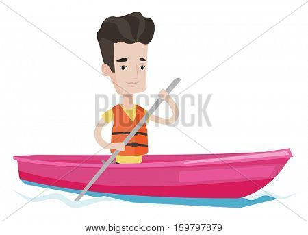 Sportsman riding in kayak in the river. Caucasian man with skull in hands traveling by kayak. Male kayaker paddling. Man paddling a canoe. Vector flat design illustration isolated on white background.