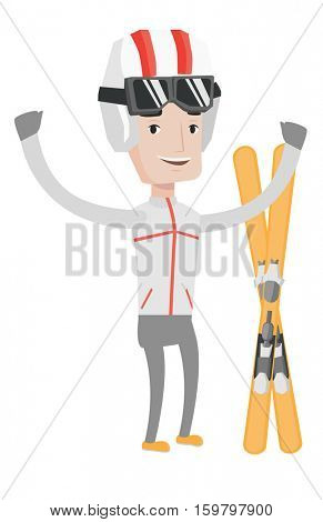 Caucasian sportsman standing with skis. Young man skiing. Cheerful skier with raised hands standing near skis. Skier resting in ski resort. Vector flat design illustration isolated on white background