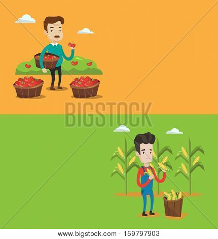 Two agricultural banners with space for text. Vector flat design. Horizontal layout. Farmer holding basket with tomatoes. Caucasian farmer collecting tomatoes harvest. Farmer collecting corn harvest.
