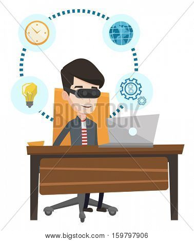 Young caucasian businessman wearing virtual reality headset and working on computer. Businessman using virtual reality device in office. Vector flat design illustration isolated on white background.