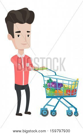 Caucasian customer pushing a supermarket trolley with healthy food. Male customer shopping with trolley. Customer buying healthy food. Vector flat design illustration isolated on white background.