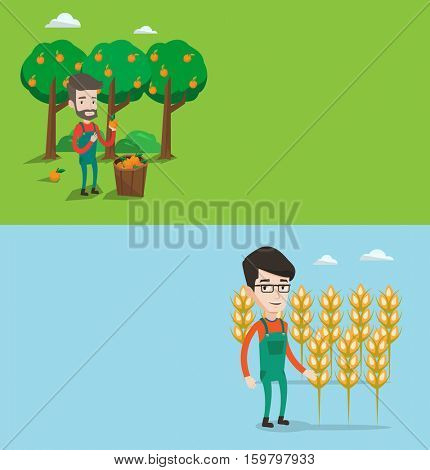 Two agricultural banners with space for text. Vector flat design. Horizontal layout. Farmer holding orange on the background of orange trees. Farmer collecting oranges harvest. Farmer picking oranges.