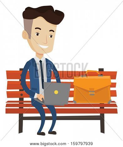 Caucasian businessman working outdoor. Happy businessman working on a laptop. Businessman in suit sitting on a bench and working on laptop. Vector flat design illustration isolated on white background