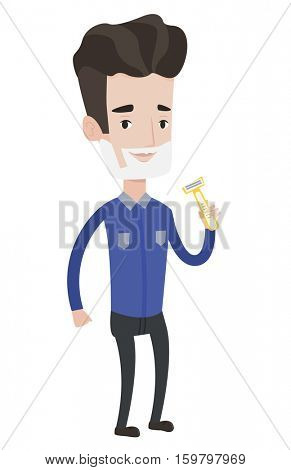 Man shaving his face. Man with shaving cream on his face and razor in hand. Man prepping face for daily shaving. Concept of daily hygiene. Vector flat design illustration isolated on white background.