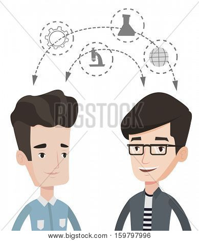 Two students sharing with the ideas. Students studying together and arrows with school icons between them. Young students brainstorming. Vector flat design illustration isolated on white background.