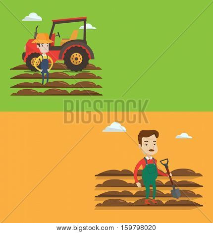 Two agricultural banners with space for text. Vector flat design. Horizontal layout. Farmer standing on the background of tractor and plowed field. Adult farmer standing with shovel on plowed field.