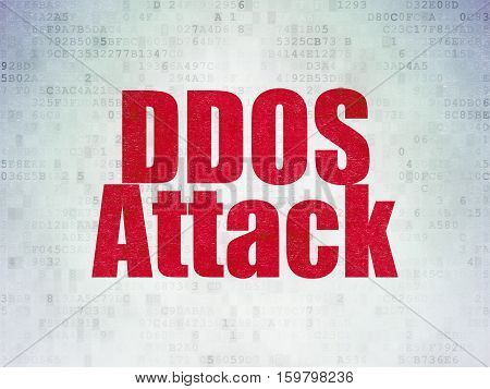 Safety concept: Painted red word DDOS Attack on Digital Data Paper background