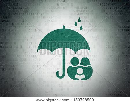 Privacy concept: Painted green Family And Umbrella icon on Digital Data Paper background