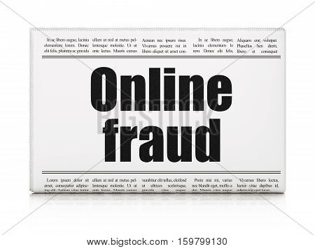 Security concept: newspaper headline Online Fraud on White background, 3D rendering