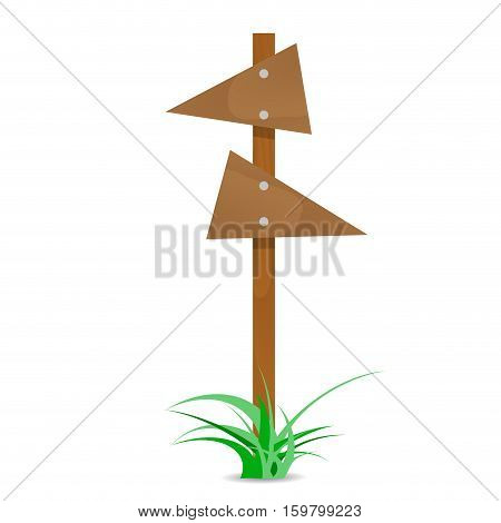 Wooden arrow with bush. Directional pointer wooden guidepost arrow board. Vector illustration