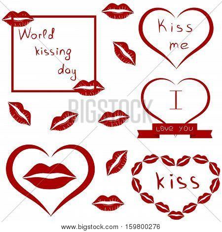 World kissing day. Clip-Art. Set of lips, kiss, heart and ribbon. Vector illustration. White background.