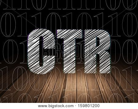Finance concept: Glowing text CTR in grunge dark room with Wooden Floor, black background with  Binary Code