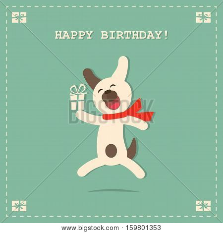 Happy Birthday, party invitation, banner. Greeting card for birthday with cute dog and gift on background. Vector illustration