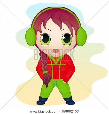 Cute anime chibi little girl wearing earmuffs. Simple cartoon style. Vector illustration. New Year Collection.