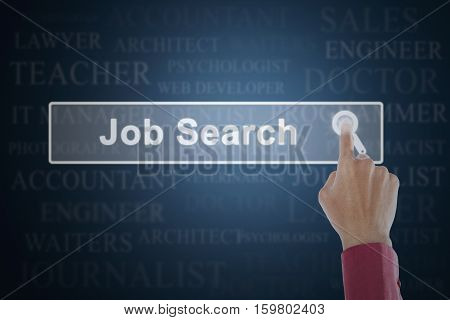 Concept of job search with businessman hand touching a job search button on the virtual screen