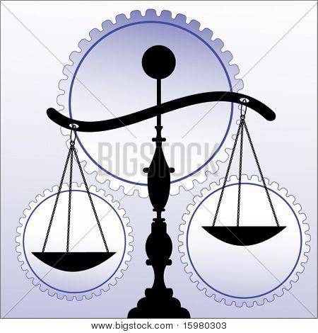 scales of justice  wheels/gears behind