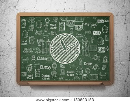Time concept: Chalk White Clock icon on School board background with  Hand Drawing Time Icons, 3D Rendering