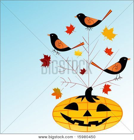 pumpkin with birds
