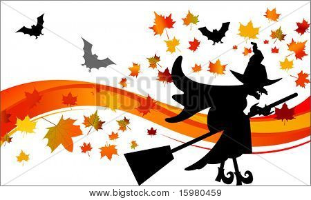 witch on a broom with bats and leaves