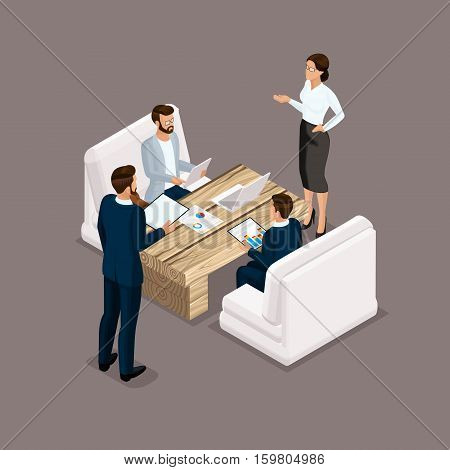 Isometric people isometric businessmen negotiation investment graphic business meeting. Business men and women negotiate. Vector illustration.