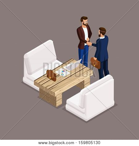 Isometric people isometric businessmen negotiations business meeting shaking hands the negotiating table. Laptop documents graphics