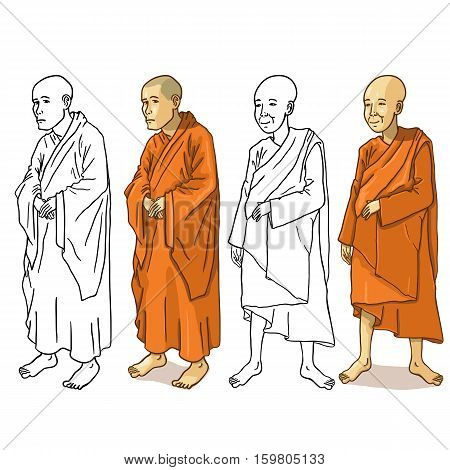 Vector Set of Buddhist Monk Characters on White Background