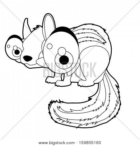 Coloring book page. Funny cartoon comic cool nice animals. Chipmunk