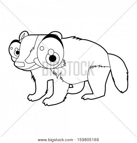 Coloring book page. Funny cartoon comic cool nice animals. Badger