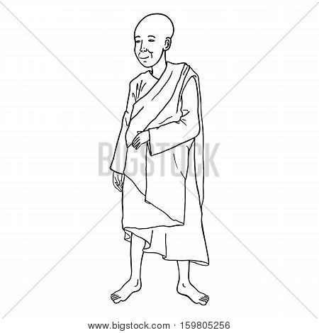 Vector Single Lineart Buddhist Monk on White Background