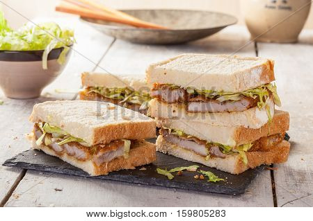 Katsu Sando a popular Japanese sandwich with pok cutlet.
