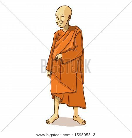 Vector Single Cartoon Buddhist Monk on White Background